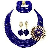 laanc 5Reihen Gorgeous hoch Qualifizierten Jewelry Lieferant blau Nigerianisches Hochzeit afrikanischen Perlen Schmuck Set Kristall Bead Halskette Armband Ohrringe New a000137
