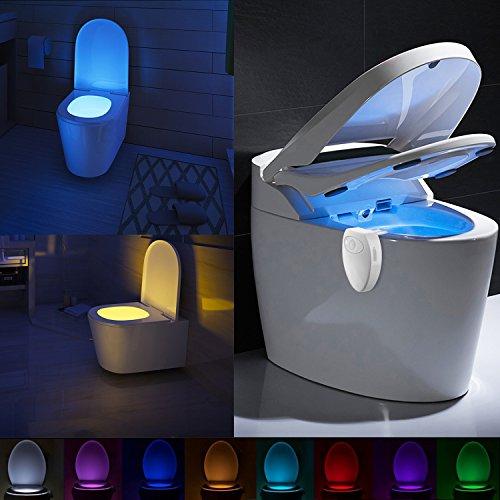 Lampada da toilette ricaricabile con design impermeabile di lennystone lampada da toilette notturna luminosa attivata lampada da toilette con luce a 8 colori (8 colors)