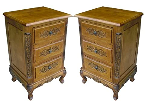 2 x SOLID WOOD French Furniture, Hand Carved Chest Of 3 Drawers Bedside Table in Oak Finish