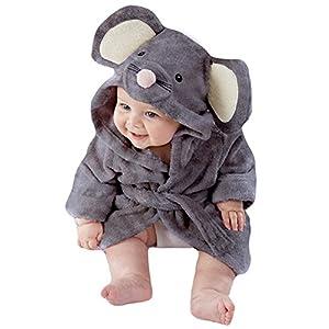 Tkria Little Boys Baby Bathrobe Dressing Gown Mouse Hooded Towel Sleepwear Flannel Fleece For kid Age 1 2 3 4 5 Years Grey