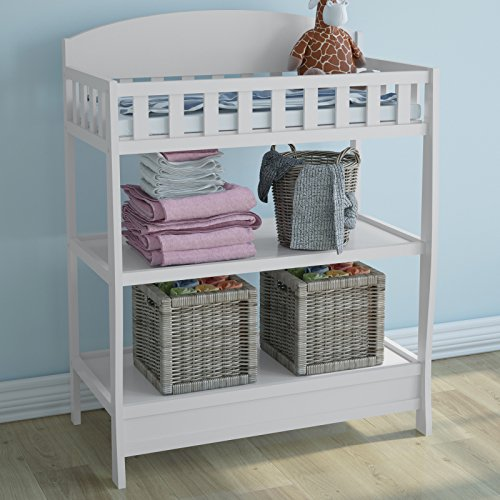 Infanatstic Infantastic Baby Changing Table from Natural Wood Unit 2 Storage Surfaces Furniture Nursery Baby Furniture in Different Colours (White)