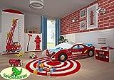 Kinderbett Rennauto Feuerwehr Polizei (160 x 80, Feuerwehr)