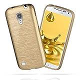 moex Samsung Galaxy S4 Mini   Hülle Silikon Gold Brushed Back-Cover TPU Schutzhülle Ultra-Slim Handyhülle für Samsung Galaxy S4 Mini Case Dünn Silikonhülle Rückseite Tasche