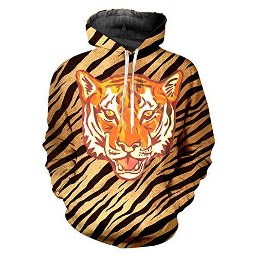 Leopardenmuster Hoodies Animal Hooded 3D Printed Tiger Lose Kostüm Sweatshirt Tiger L (Herr Erdnuss Mann Kostüm)