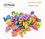 Kids Bath Toys w/ Mesh Organizer Bag - Pack of 84 pcs- Baby Educational Bathroom Alphabet Toys Doopo - Non-toxic EVA Letters Sea Animals Numbers