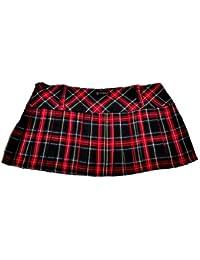 Mini falda de cuadros escoceses 12in (30,5 cm) Longitud de la by en relieve de pollo Crazy (14, rojo negro y verde azul y amarillo)