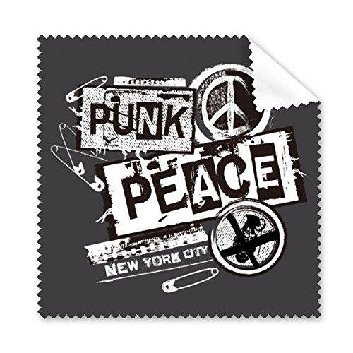 Schwarz Weiß Frieden Symbol Punk New York City Antikriegs-Design Illustration Muster Brille Reinigungstuch Reinigungstuch Handy-Display von 5x