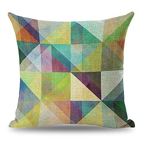 Coolsumme Housse de coussin décorative colorée géométrique avec fermeture éclair dissimulée pour canapé, lit, chaise, siège auto 45,7x 45,7cm, UKS036A11, 18x18
