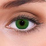 """Stark deckende natürliche grüne Kontaktlinsen farbig """"Atlantis Green"""" + Behälter von LENZOTICA I 1 Paar (2 Stück) I DIA 14.00 I mit Stärke I -1.00 Dioptrien"""