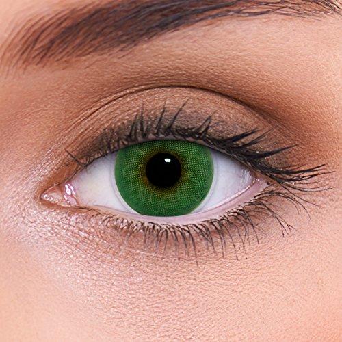 """Stark deckende natürliche grüne Kontaktlinsen farbig """"Atlantis Green"""" + Behälter von LENZOTICA I 1 Paar (2 Stück) I DIA 14.00 I ohne Stärke I 0.00 Dioptrien (Neuheit Kontaktlinsen)"""