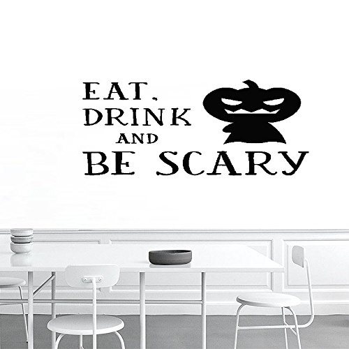 wandaufkleber 3d schlafzimmer 24X19 Eat Drink And Be Scary Pumpkin Costume Pary Halloween Wall Decal Sticker Art Mural Home Decor Quote For Bedroom Living Room (Costume Halloween-foto De)