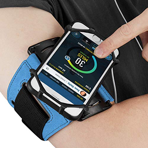ABREOME Sportarmband für iPhone, Sport Armband 180° Drehbar Running Armband Kompatibel mit iPhone6/6S/7/8, iPhone X/XS, Galaxy S5/S6/S7, für Laufem,Joggen,Fitness (Blau) (Iphone6 Fitness-armband)