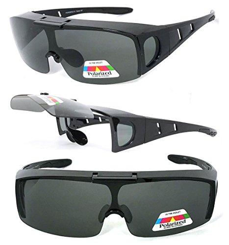 VeryHobby Polarisiert Flip Up Fit über Sonnenbrillen Abdeckung Rx Gläser Seitenschutz 150 Mittel Black Frame/Schwarz-Linse