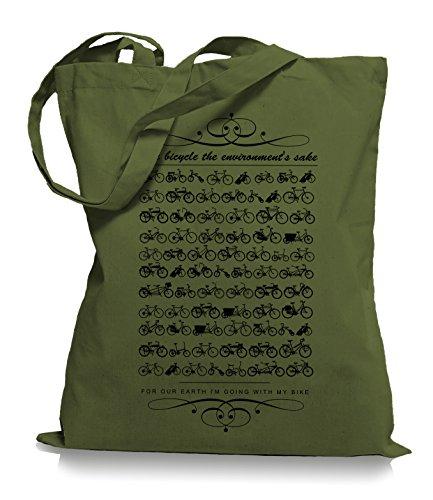 Ma2ca® Kult Bikes Stoffbeutel Einkaufstasche Tasche Tragetasche / Bag WM101 Olive Green