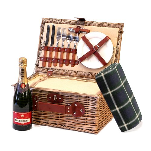750ml Piper-Heidsieck Champagne Brut in a Luxury 2 Person Chiller Picnic Hamper Basket with Traditional Waterproof Picnic Blanket & Accessories - Gift idea for Valentines, Mothers Day, Birthday, Wedding, Anniversary, Corporate, Business and Thank You Pres