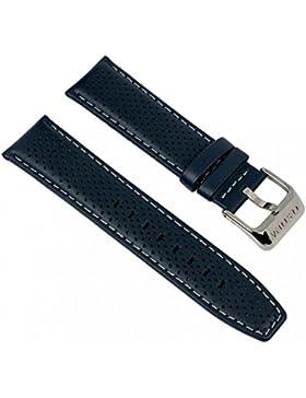 Festina Uhrenarmband Ersatzband Leder Band mit Kontrastnaht 23mm für alle Modelle F16585, Farben:blau