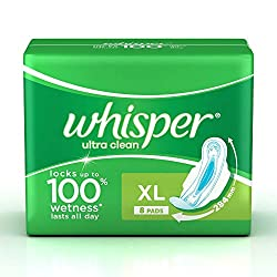 Whisper Ultra Clean Sanitary Pads XL (8 Count)