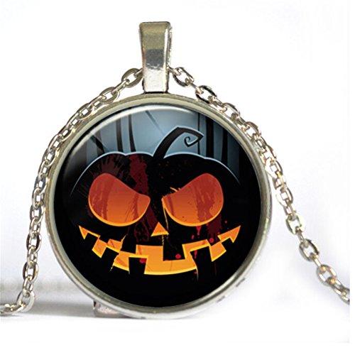 erzeit Gem Cabochon Halloween Spooky Kürbis Anhänger Ketten, Silber ()