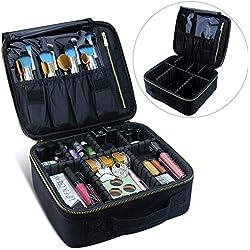 Travelmall Makeup Case, Samtour- Professionelle Kosmetik Make-up Tasche Organizer, Zubehör Fall, Werkzeuge Fall (Schwarz) (G-black)