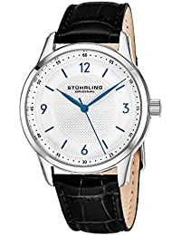 Stuhrling Original Men's Quartz Watch with Silver Dial Analogue Display and Black Leather Strap 572.01