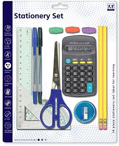15 PIECE STATIONERY SET BACK TO SCHOOL PROTRACTOR PENS RULER HB PENCILS