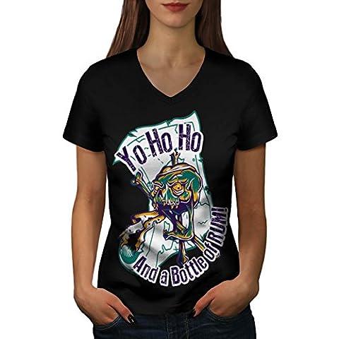 Rum Bottle Fun Pirate Skull Ghost Women NEW Black L V-Neck T-shirt | Wellcoda
