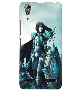 ColourCraft Warrior Girl Design Back Case Cover for LENOVO A6000 PLUS