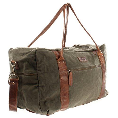 LECONI Reisetasche Damen Herren Canvas Handgepäck Leder Sporttasche groß Weekender Unisex 55x30x21cm LE2014-C grün / braun
