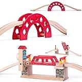 Set: 2 Stück _ Holz - Brücken - Klappbrücke / Hebebrücke + 5 Schienen - für Holzeisenbahn - passend für alle Schienen-Systeme & Straßen - z.B. Brio / Heros / ..