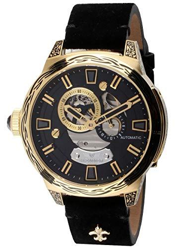 Haemmer - heter black rock skeleton orologio automatico da donna in acciaio inossidabile placcato oro