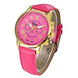 Xinantime Relojes Pulsera Mujer,Xinan Cuarzo Romana Cuero de Imitación Relojes Regalo (Rosa Caliente)