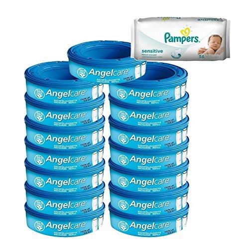 Angelcare Windeleimer Nachfüllpack + 56 Pampers Feuchttücher Angeboten ! (Packung 15)
