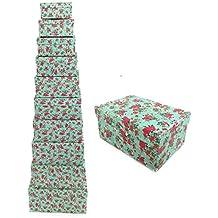 Decorativo floral rectángulo cartón duro Craft almacenamiento Brithday de Navidad caja de regalo de recuerdo de bautizo [Verde], Box 1: (16 x 11.5 x 7.5cm)