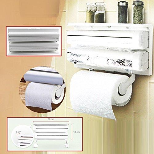 Preisvergleich Produktbild Ndier Küche Wand montiert Papier Handtuchhalter Frischhaltefolie Tinfoil Triple Rolle Spender