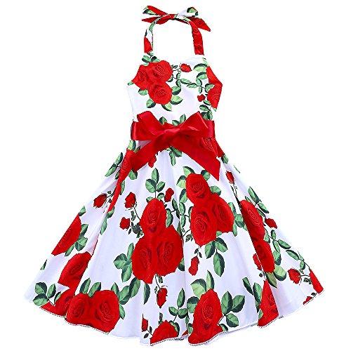 IPBEN Girls Dresses, Kids Baby Pretty Denim Bowknot Print Sleeveless Princess Dress Outfits