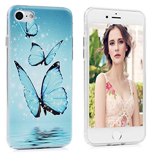YOKIRIN Custodia per iPhone 7 (4.7 Pollici), Custodia Protettiva PC Case Anti Polvere e Graffi Trasparente Vario Disegno (Lamore tra il Gatto e il Pesce) Farfalle