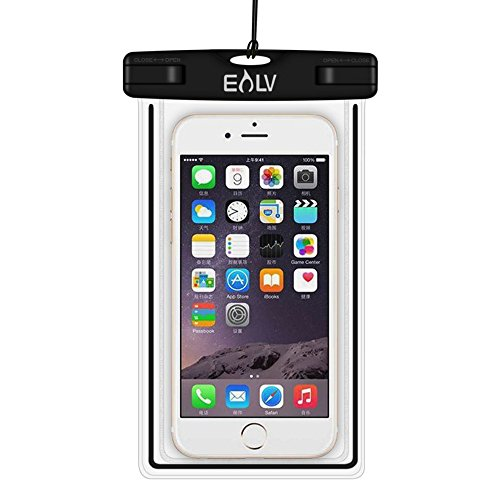 E LV Universal Waterproof Case Bag for Apple iPhone 6 plus, 6s plus, Samsung Galaxy S7 Edge, S6 Edge, Note 4 for Cellphone up to 6 inches – Black.