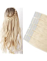 40cm Extension Cheveux Naturel Adhesif Bande Adhesive 100% Cheveux Humain Remy Tape in Human Hair Extensions 20 Pcs, 60 Blond platine