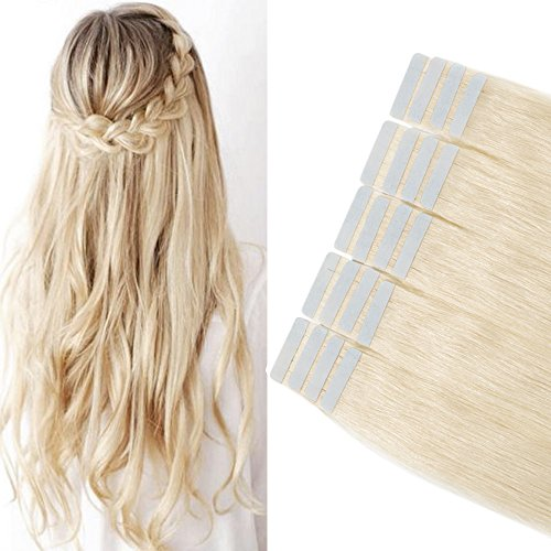 45cm extension capelli veri adesive extensions con biadesivo riutilizzabili - 20 fasce 50g 60# biondo platino - 100% remy human hair umani