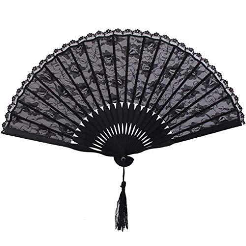 Viktorianischen Kostüm Tanz - Poualss Schwarz Lace Folding Fans Handheld Fan Spanisch Viktorianischen Stil Fan für Hochzeitsfestbevorzugung Kostüm Wanddekoration Tanz Requisiten