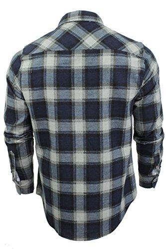 Chemise à carreaux en flanelle à manches longues par Brave Soul pour homme Bleu moyen