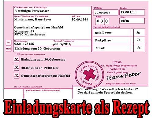 Rezept als Einladungskarten zum Geburtstag Party Feier Kranken-rezept Einladung (30 Stück)