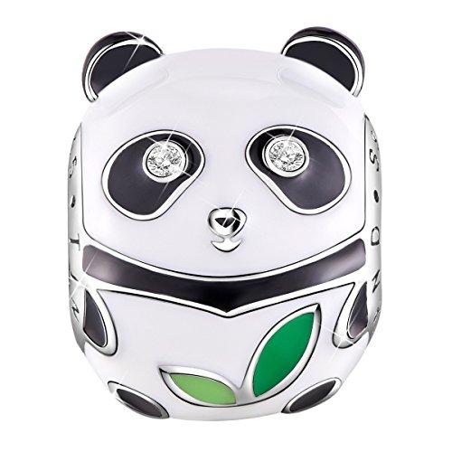 Tinysand charms panda bead in smalto bianco e nero per bracciale europa