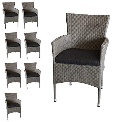 8x Polyrattan Sessel stapelbar Rattansessel grau-meliert inklusive ...