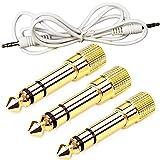 WENTS 3 Stück Kopfhörer Adapter 3,5 mm 1/8 Zoll Buchse auf 6,35 mm 1/4 Zoll Klinkenstecker Stereo Audio Adapter Stecker und 1 Stück Aux Kabel 3.5mm Audio Kabel 0.5m Klinkenkabel