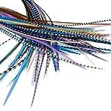 25 extension per capelli di piume vere: corte e sottili, 18-23 cm + anelli/loop