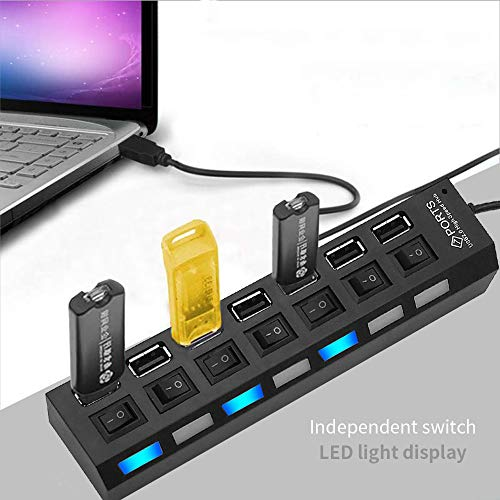 LOBKIN 7 in 1 USB Hub,  USB Potrs and Charging Ports with Individual On/Off Switches and LED Lights for PC,  USB Flash Drives,  Mouse and More (Black) (Black)