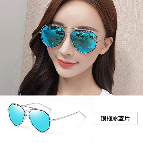 Sonnenbrillen Polygon Toad Gläser Frauenschatten Hat Überdimensionierte Brille Polarisiert Sonnenbrille Anti-ultraviolett Silbernes Bild-Eis Blaue Scheiben