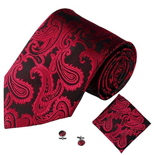 SOMESUN Gewebtem Jacquard Herren Krawatten Taschentuch Manschettenknopf 3PCS Paisley Cashew Taschen (rot #2)