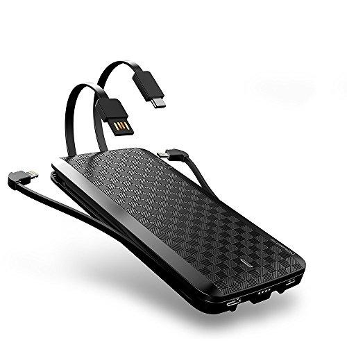 iWALK 8000mAh Errichtet im USB Typ C & Micro USB Kabel Externer Batterie Akku Power Bank Tragbare Slim Handy Ladegerät Kompatibel mit iPhone 5 6 7 8 Plus X SE Note8 S8 Smartphones
